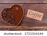 Heart From Coffee Beans And...