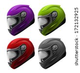 High Detailed Set of 4 Realistic Motorcycle Helmets Red, Green, Purple, Black