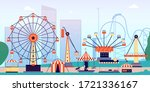 amusement park. fun fair ... | Shutterstock .eps vector #1721336167