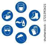 use ppe required prevent spread ... | Shutterstock .eps vector #1721392621