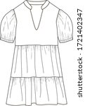 dress  fashion flat sketches ...   Shutterstock .eps vector #1721402347