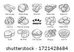 doodle set of thai sweets. hand ...   Shutterstock .eps vector #1721428684
