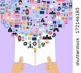 open books with social media ...