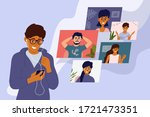 video call with friends. online ... | Shutterstock .eps vector #1721473351