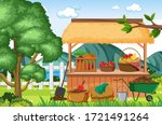 scene with fruit and vegetable... | Shutterstock .eps vector #1721491264
