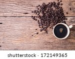 top view hot black coffee with... | Shutterstock . vector #172149365