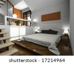 view on the modern bedroom 3d. | Shutterstock . vector #17214964