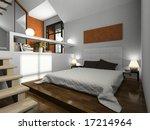 view on the modern bedroom 3d. | Shutterstock . vector #17214964