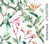 seamless pattern with lonicera... | Shutterstock . vector #1721527504