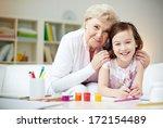 portrait of happy girl and her... | Shutterstock . vector #172154489
