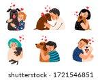 kids petting dogs. children... | Shutterstock .eps vector #1721546851