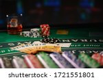 A Casino table with Euro bills  - stock photo