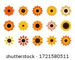 sunflower plant flat icons. set ... | Shutterstock .eps vector #1721580511