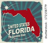 Abstract label with name and map of Florida, vector illustration
