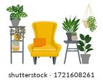 home plants and flowers in pots.... | Shutterstock .eps vector #1721608261
