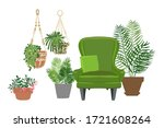 home plants and flowers in pots.... | Shutterstock .eps vector #1721608264