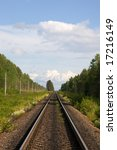 the railway  trees along it and ... | Shutterstock . vector #17216149