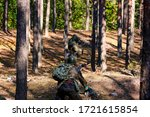 Soldiers reconstructing fights in the forest  - stock photo