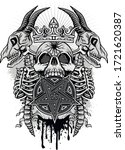 gothic sign with skull  grunge...   Shutterstock .eps vector #1721620387