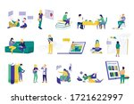modern students with paper... | Shutterstock .eps vector #1721622997