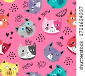cute seamless pattern with cats.... | Shutterstock .eps vector #1721634337