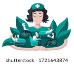 nurse takes care of patients....   Shutterstock .eps vector #1721643874