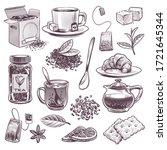 sketch tea. hand drawn tea...   Shutterstock .eps vector #1721645344