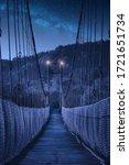 Wooden Suspension Bridge Over...