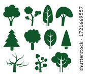 simple tree vector set   green  ... | Shutterstock .eps vector #1721669557