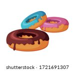 glazed colorful donuts  fast... | Shutterstock .eps vector #1721691307