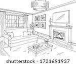 living room graphic black white ... | Shutterstock .eps vector #1721691937