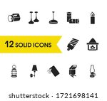 bright icons set with candle ...