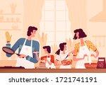 happy family cooks pancakes in... | Shutterstock .eps vector #1721741191