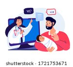 consultation pediatrician on... | Shutterstock .eps vector #1721753671