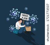 man feel depressed losing a job ... | Shutterstock .eps vector #1721773537