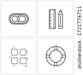 set of 4 simple line icons of...