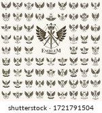heraldic coat of arms vector... | Shutterstock .eps vector #1721791504