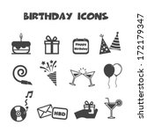 birthday icons  mono vector... | Shutterstock .eps vector #172179347