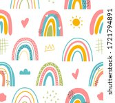 seamless childish pattern with...   Shutterstock .eps vector #1721794891