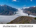 Male Silhouette against the Salmon Glacier, British Columbia, Canada