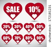 red hearts tag lable discount   Shutterstock .eps vector #172181231
