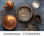 Set Of Old Vintage Copper And...
