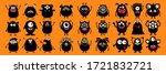 happy halloween. monster black... | Shutterstock .eps vector #1721832721