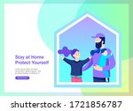 stay at home concept of... | Shutterstock .eps vector #1721856787
