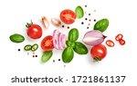 tomato  basil  spices  pepper ... | Shutterstock . vector #1721861137