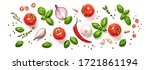 Small photo of Tomato, basil, spices, chili pepper, onion, garlic. Vegan diet food, creative composition isolated on white. Fresh basil, herb, tomatoes pattern layout, cooking concept, top view.
