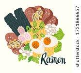 ramen top view. illustration...   Shutterstock .eps vector #1721866657