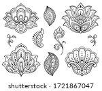 set of mehndi flower and lotus... | Shutterstock .eps vector #1721867047