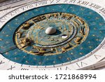 Ancient Clock With Sundial At...