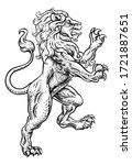 A Lion Rearing Rampant On Its...